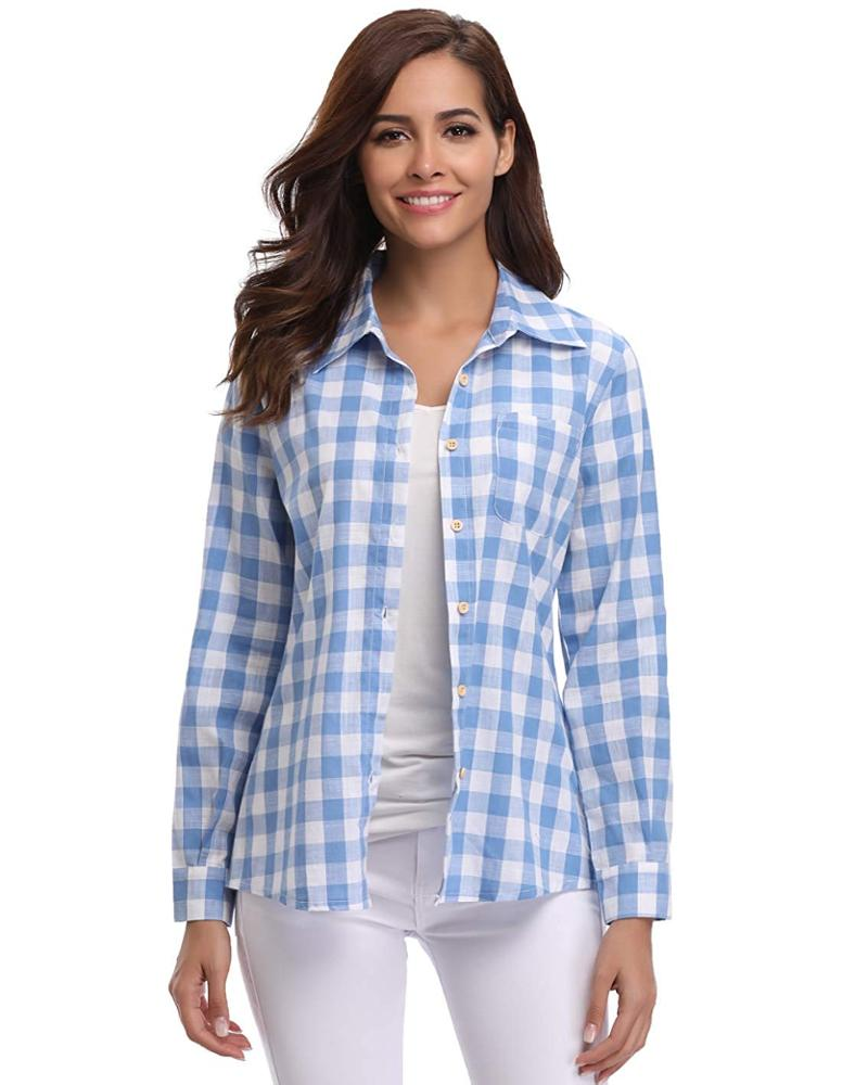 Women Plaid Shirt OEM, Casual Long Sleeve Button Down Checke