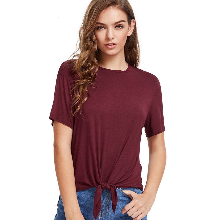tees OEMcasual loose fit tie front knot t shirt women