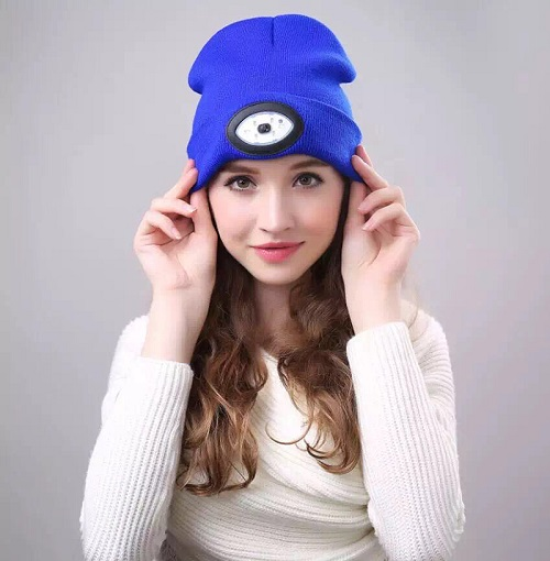 Outdoor USB Rechargeable led hat winter acrylic beanie hat